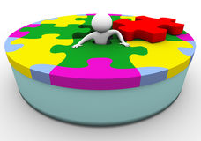 3d man in the puzzle. 3d render of man in the circular shape puzzle Stock Photo