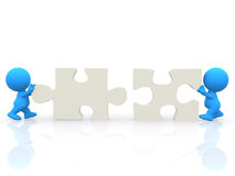 3D man - puzzle assembling Royalty Free Stock Photos