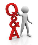 3d man with Q&A Stock Photography
