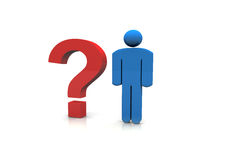 3d man Question Mark. 3d man and Question Mark Stock Images