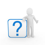 3d man question mark blue Royalty Free Stock Photo
