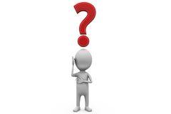 3d man question mark on head concept Royalty Free Stock Image