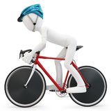 3d man with race bike. On white background Royalty Free Stock Images