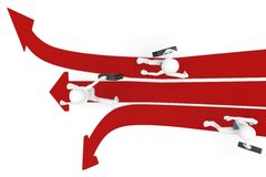 3d man race with multiple arrow paths. Isolated on white Royalty Free Stock Photo