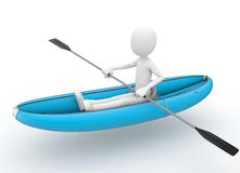 3d man rafting with  kayak. Isolated on white Royalty Free Stock Photo