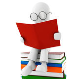 3d man reading a book Royalty Free Stock Image