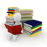 3d man reading a book. On white background Stock Images