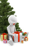 3d man received gifts. 3d image Stock Photo