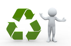 3d man and recycle icon Stock Images