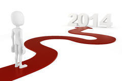 3d man and a red arrow leading to 2014. On white background stock illustration