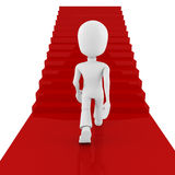 3d man on red carpet, climbing for success Stock Image