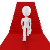 3d man on red carpet, climbing for success. 3d man on red carpet climbing for success Stock Image