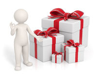 3d man - Red gift boxes Stock Image