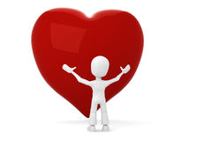 3d man with a red heart in front of him. 3d man with a big red heart in front of him Stock Photography