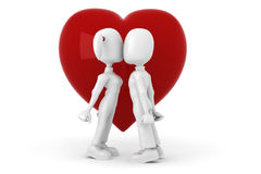 3d man with a red heart in hes hands. 3d couple kissing in front of a big red heart Stock Image