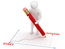 3d man with red pencil. 3d man drawing graphic from start to success with red pencil. Growth concept Stock Photos
