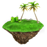3d man relaxing on a little piece of land Royalty Free Stock Photos