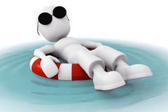 3d man, relaxing in a pool Stock Photos