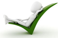 3d man relaxing on a positive sign Royalty Free Stock Image