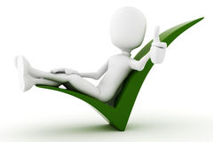 3d man relaxing on a positive sign Royalty Free Stock Photography