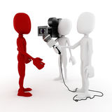 3d man reporter - interview concept. On white background royalty free illustration