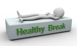 3d man - rest time. 3d render of buzzword 'healthy break Stock Photo