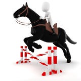 3d man riding a horse on white background Royalty Free Stock Photography