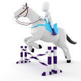 3d man riding a horse on white background Stock Image