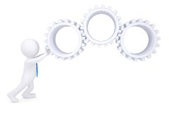 3d man rotate the gears Royalty Free Stock Photos