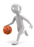 3d man running with a basketball ball. 3d image. Royalty Free Stock Image