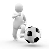 3d Man running behind soccer ball Stock Photo