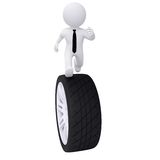 3d man running on the car wheel Royalty Free Stock Images