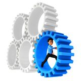 3D man running in cogwheels Royalty Free Stock Photography