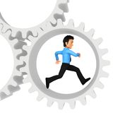 3D man running in cogwheels Stock Photography