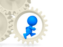3D man running on gears Stock Photo