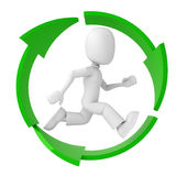 3d man, running inside the recycle symbol Stock Photos