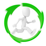 3d man, running inside the recycle symbol Royalty Free Stock Photos