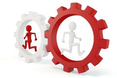 3d man running with red and white gears Royalty Free Stock Photography