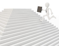 3d man running on a stair. On white background Royalty Free Stock Photos