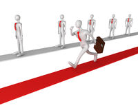 3d man running on successful way. 3d man running on a red successful way Stock Photo
