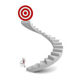 3d man running to the target on top of the stairs. Over white background Stock Photos