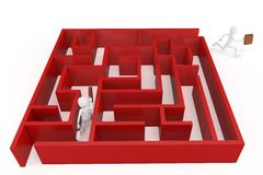 3d man running trough a maze. Isolated on white royalty free illustration