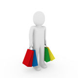 3d Man Sale Bag Shopping Royalty Free Stock Images