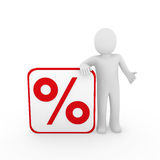 3d man sale percentage red. 3d man human sale percentage red cube sell Royalty Free Stock Photos