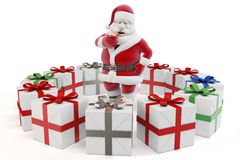 3d man sant with gift boxes. 3d man santa with gift boxes on white background stock illustration