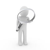 3d man search magnifying glass. 3d man human search magnifying glass lens seek vector illustration