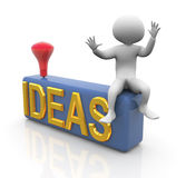 3d man searching for ideas. 3d man setting on box having bulb concept of brainstorming Royalty Free Stock Photo