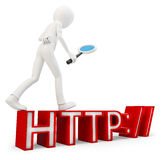 3d man searching internet concept. On white background Stock Photos