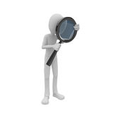 3d man searching with magnifying glass Stock Image