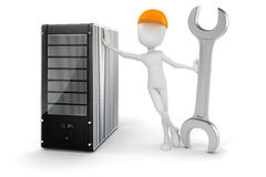 3d man and server, hardware maintenance Royalty Free Stock Photography